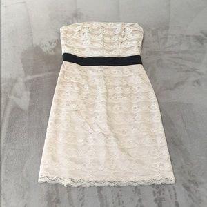 Women's Champagne Layered Lace Strapless Dress 12